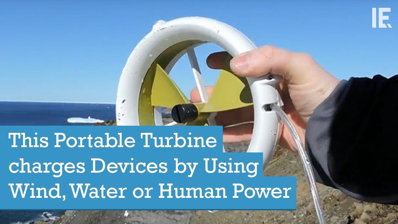 Waterlily Turbine Portable Power Source Using Wind Or