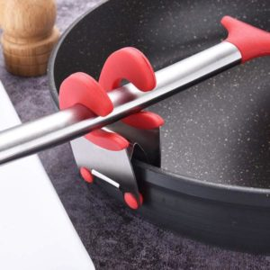 YLCOYO Stainless Steel Pot Pan Holder Spatula Clip Spoon Rest Pots Clip Kitchen Uten Af (Red)