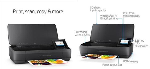 2. HP OfficeJet 250 All-in-One Portable Printer