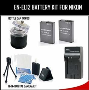 Accessory Kit for Nikon Coolpix Including Battery+Rapid Charger Bottle Cap Tripod+ and 6Pc Camera Accessory Kit